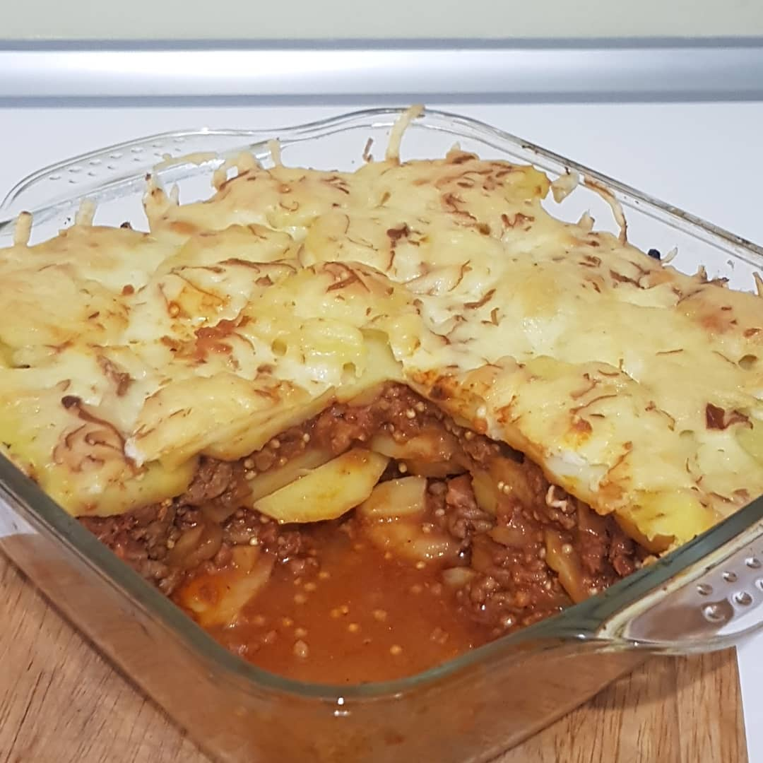 moussaka with a touch of bacon and millet to make