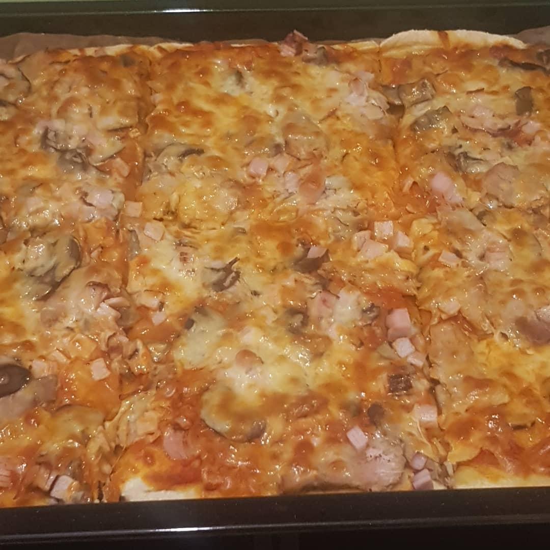 Pizza night with my first flour, semolina, corn flour dough.