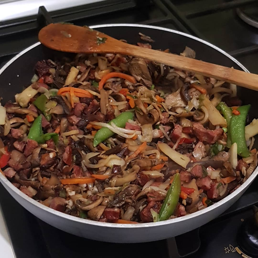 Some sort of Chinese vegetable mix with extra mushrooms and