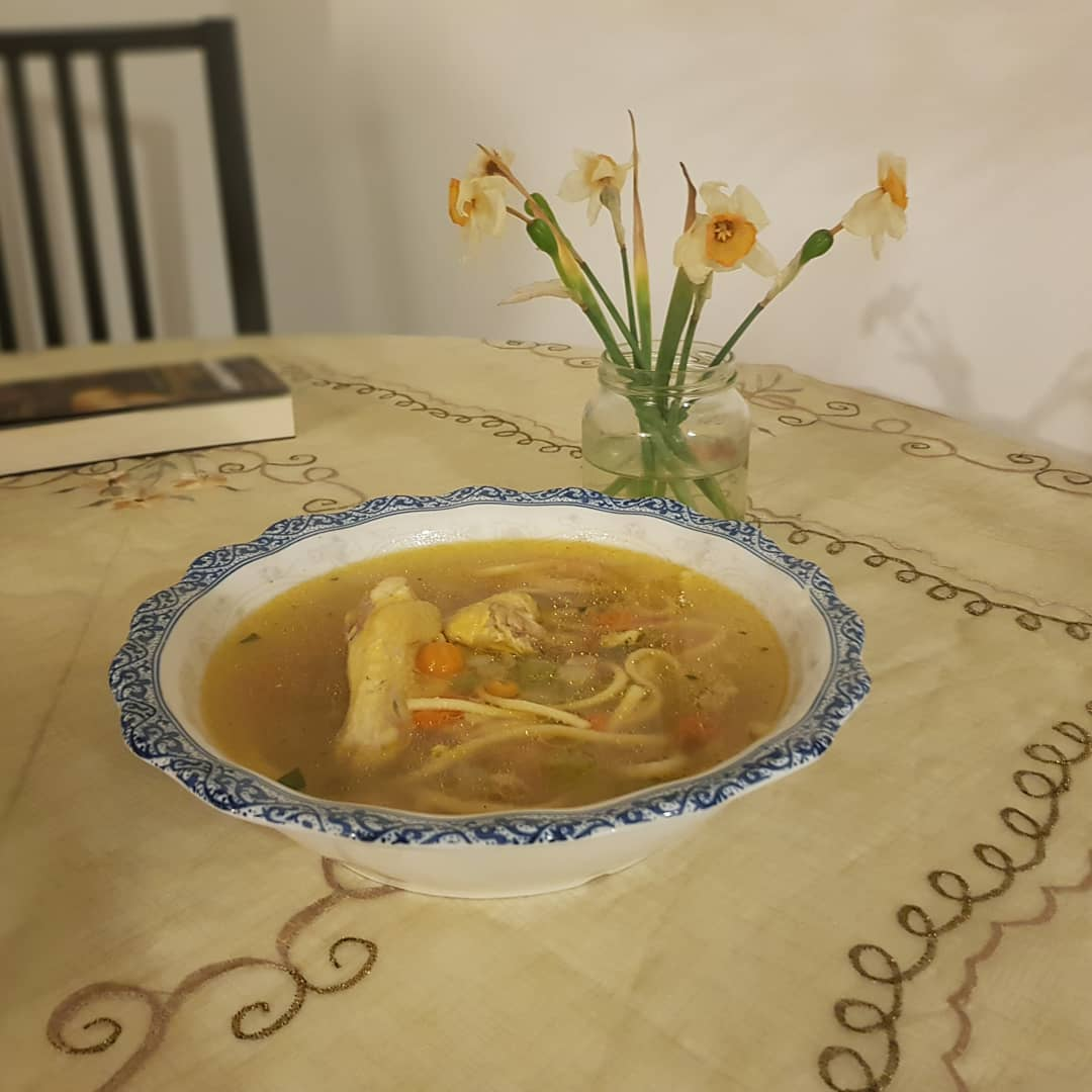 Chicken soup night. Good for the cold and for the