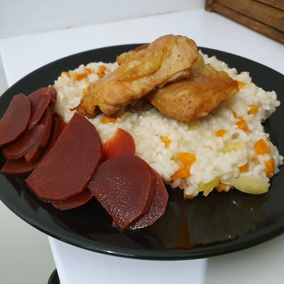 Pilaf night with oven baked chicken and home made beet