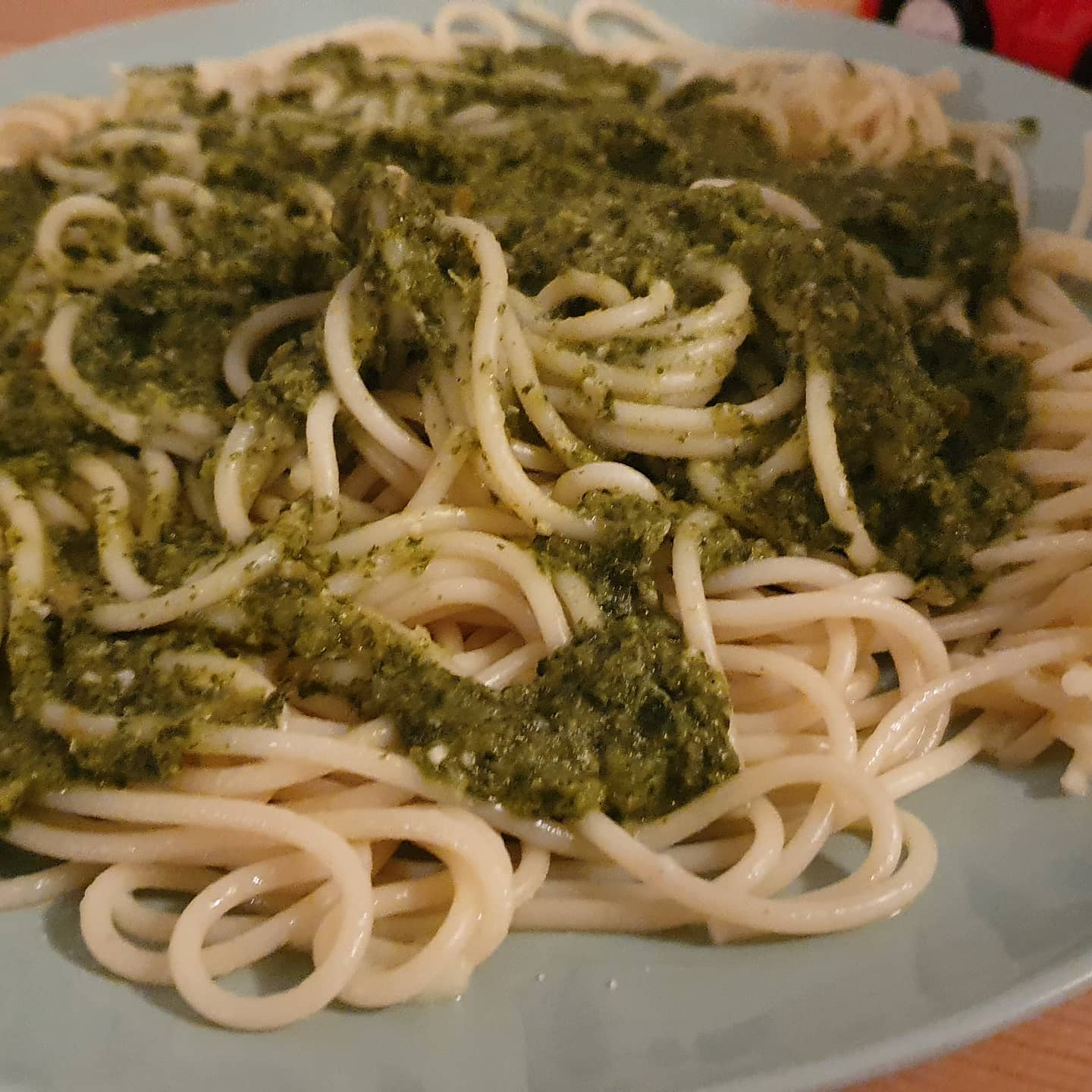 Insta pasta with some interesting pesto made out of kale,