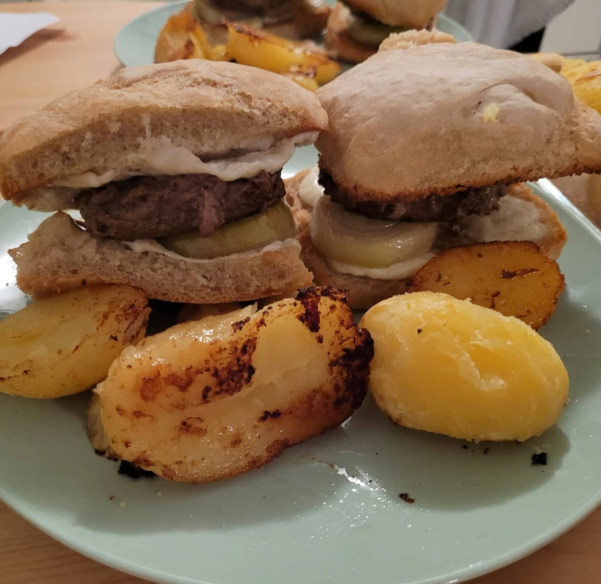 Rustic burgers with home made buns(by the wife) , buffolo